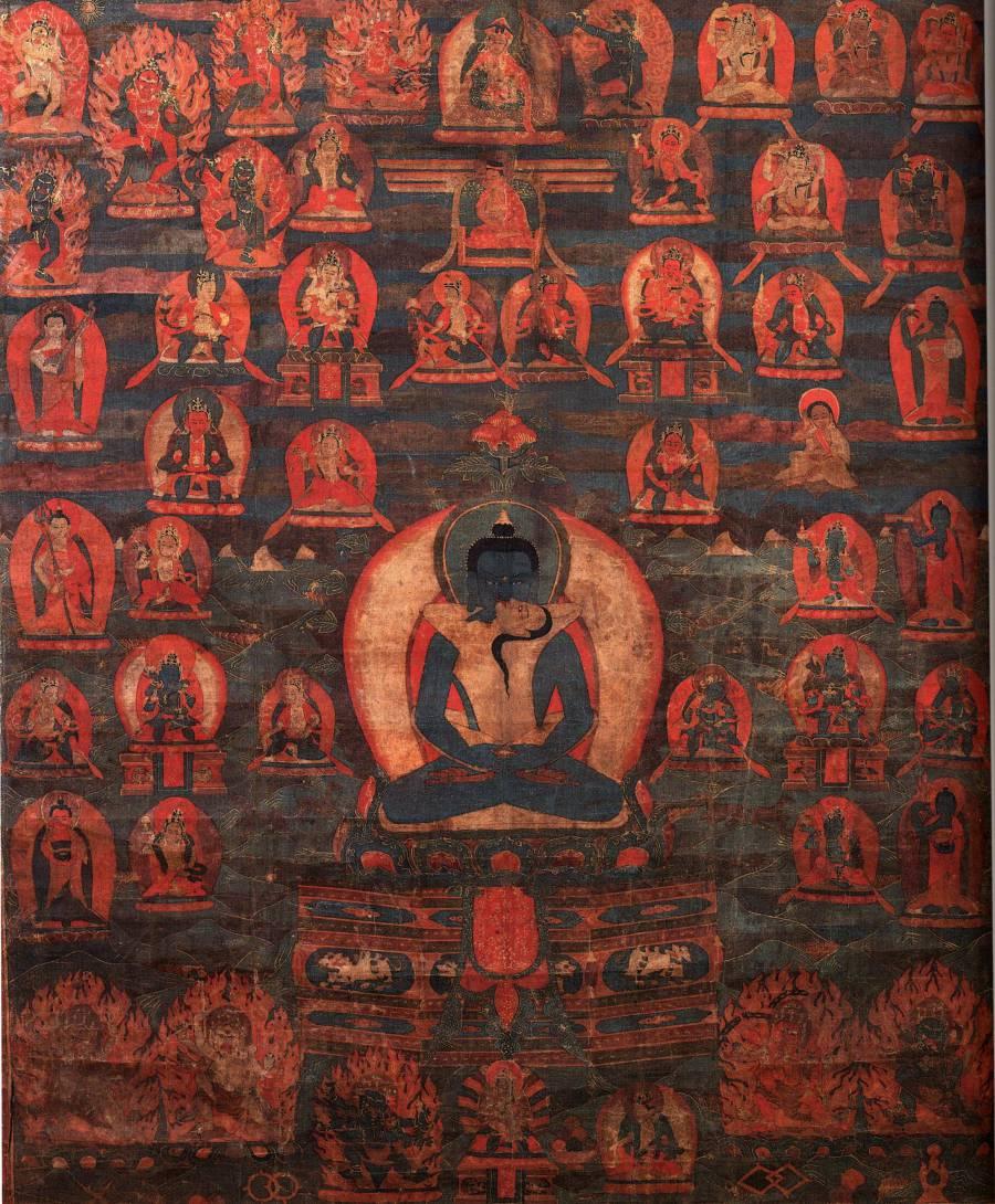 Самантабхадра в окружении будд, идамов и учителей